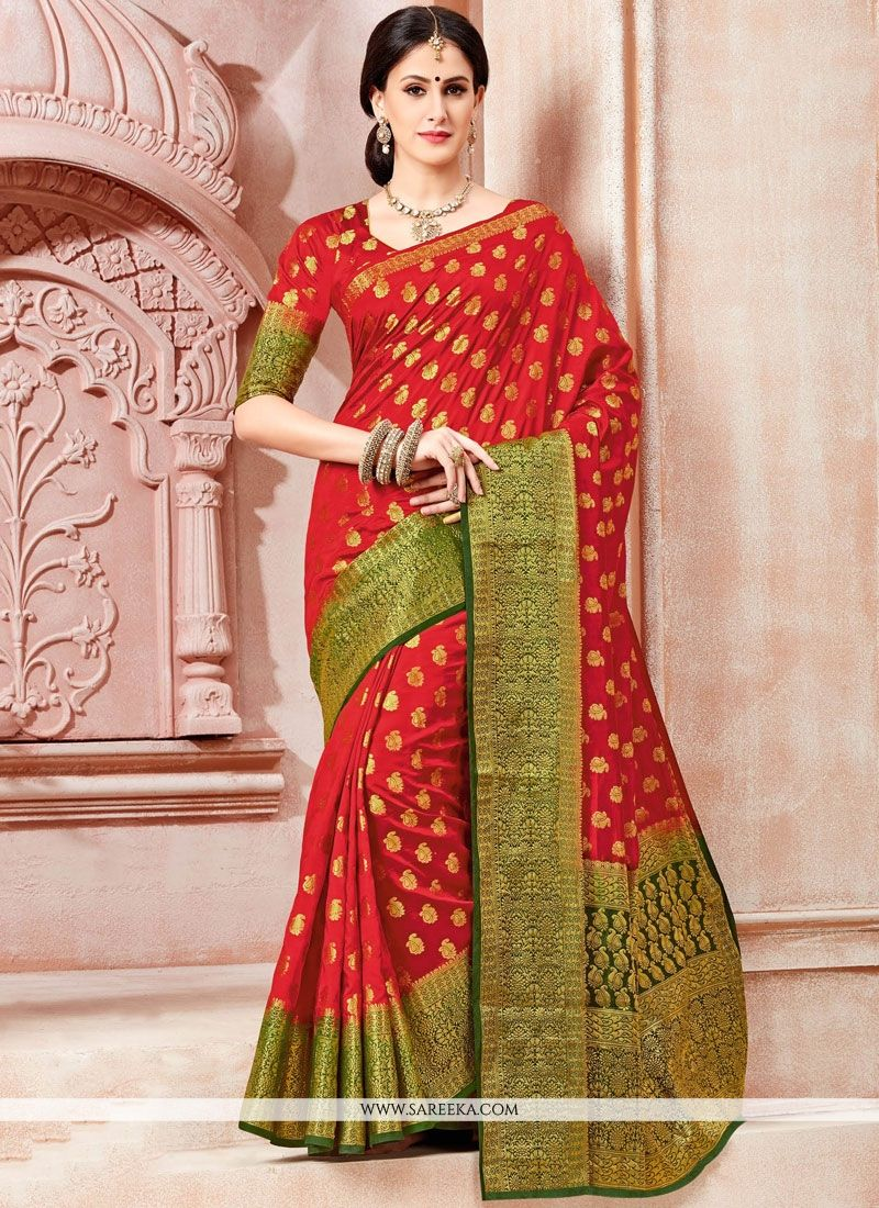 Red Weaving Work Tussar Silk Traditional  Saree