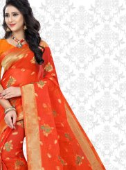 Red Woven Net Saree