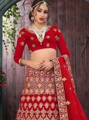 Red Zari Velvet Designer Lehenga Choli