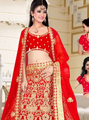 Red Zari Work Art Silk Lehenga Choli