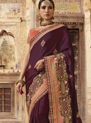 Resham Art Silk Designer Traditional Saree in Wine