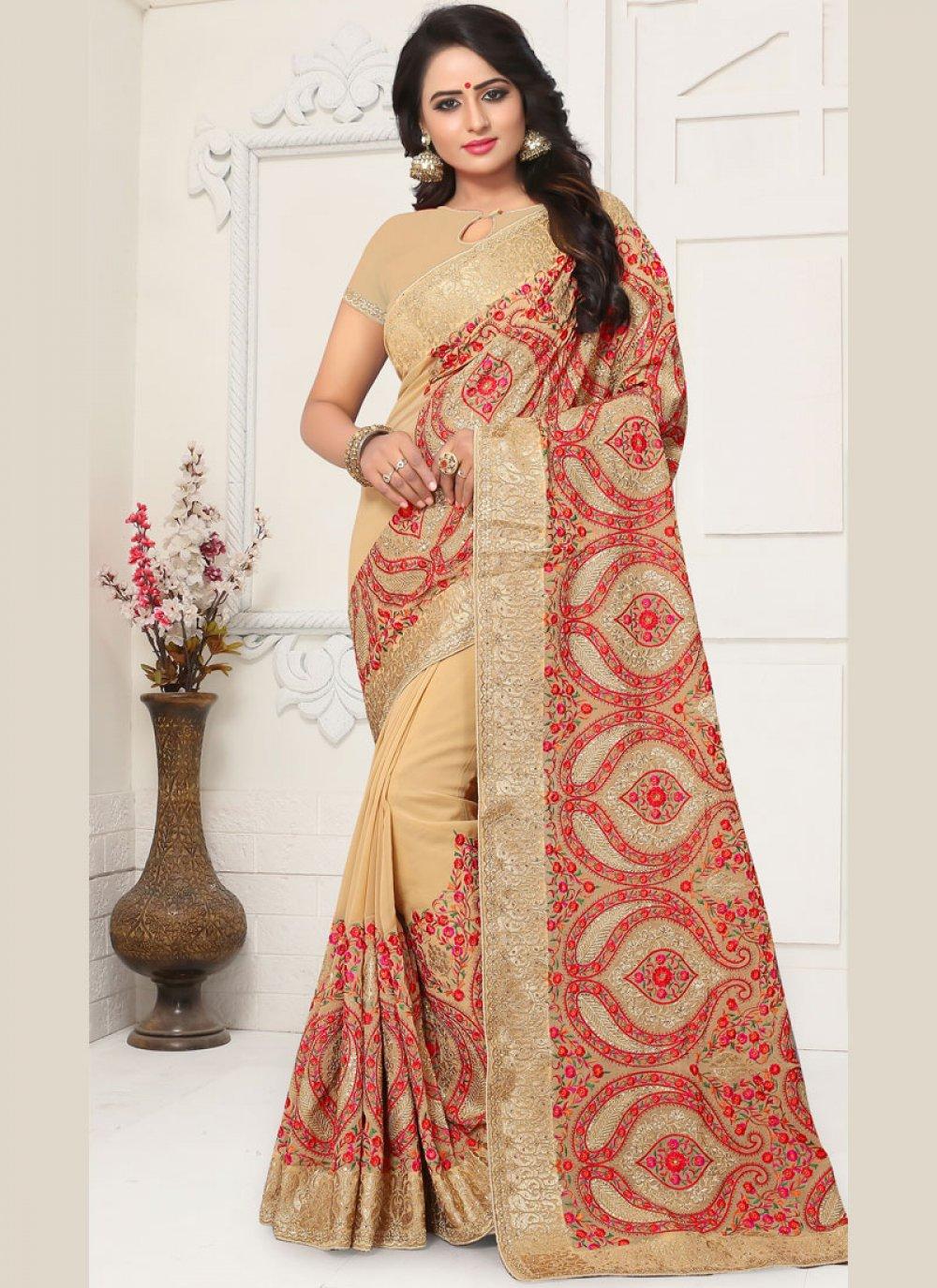 Resham Beige Classic Saree