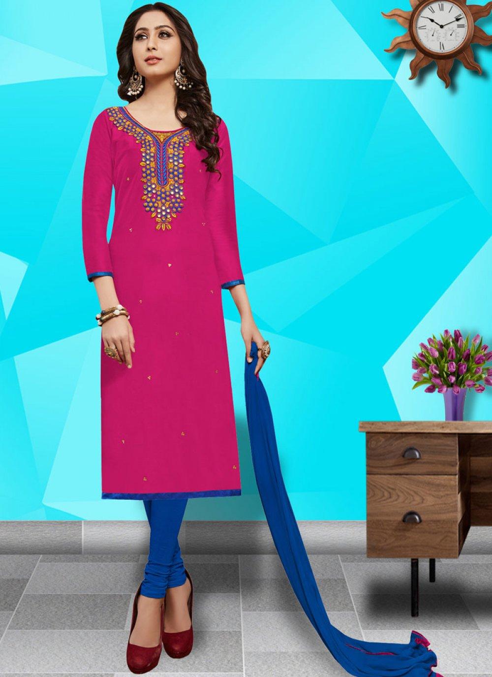Resham Cotton   Churidar Salwar Kameez in Hot Pink