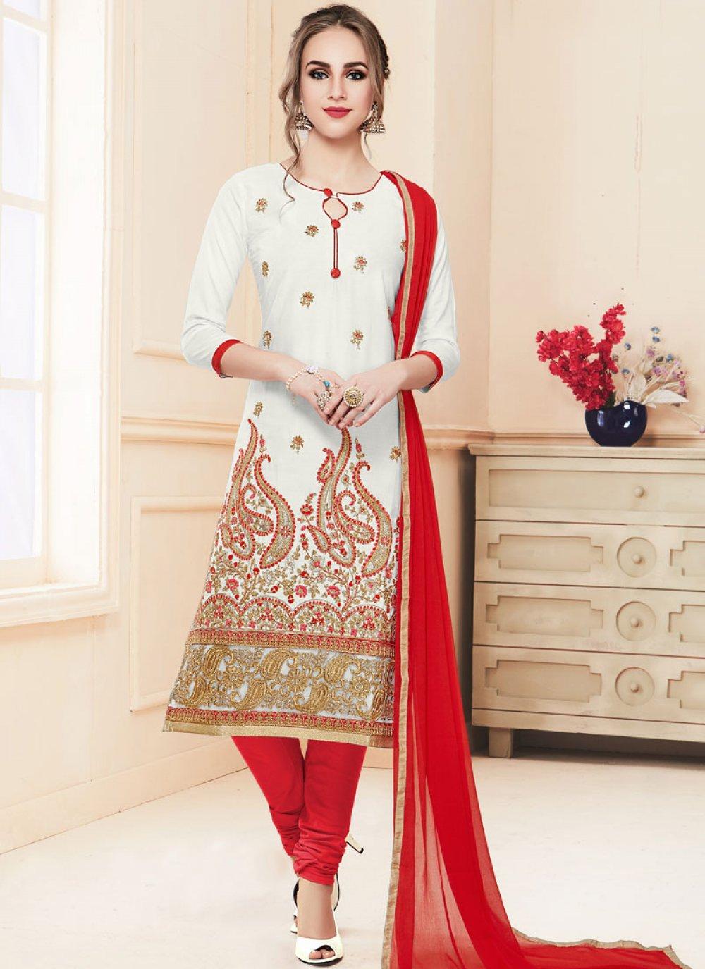 Resham Cotton   White Churidar Salwar Kameez