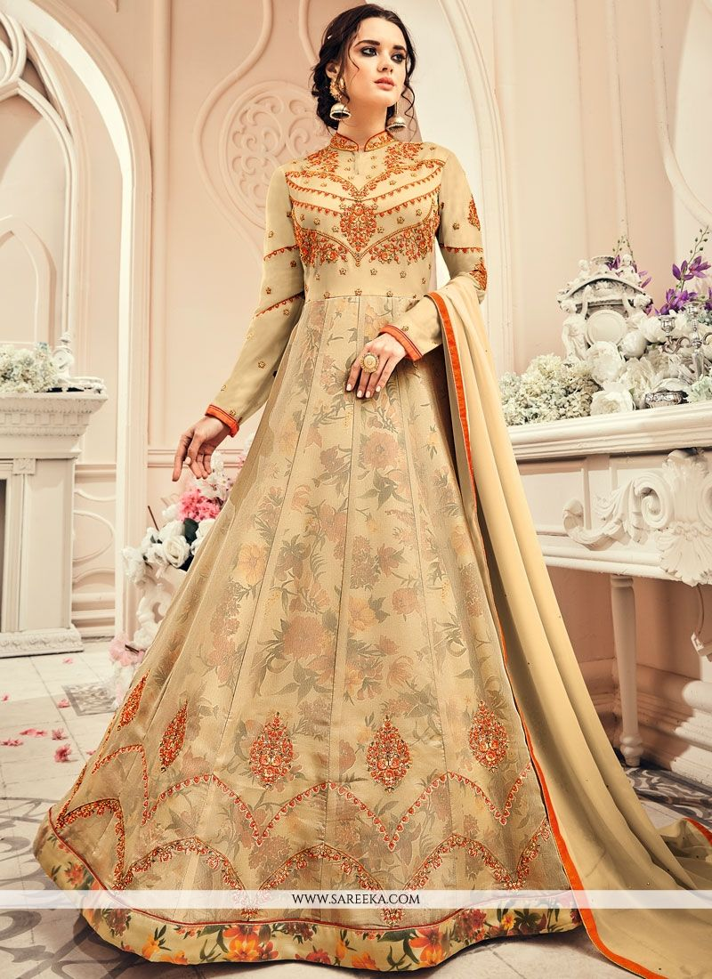 Resham Faux Georgette Floor Length Anarkali Suit in Beige