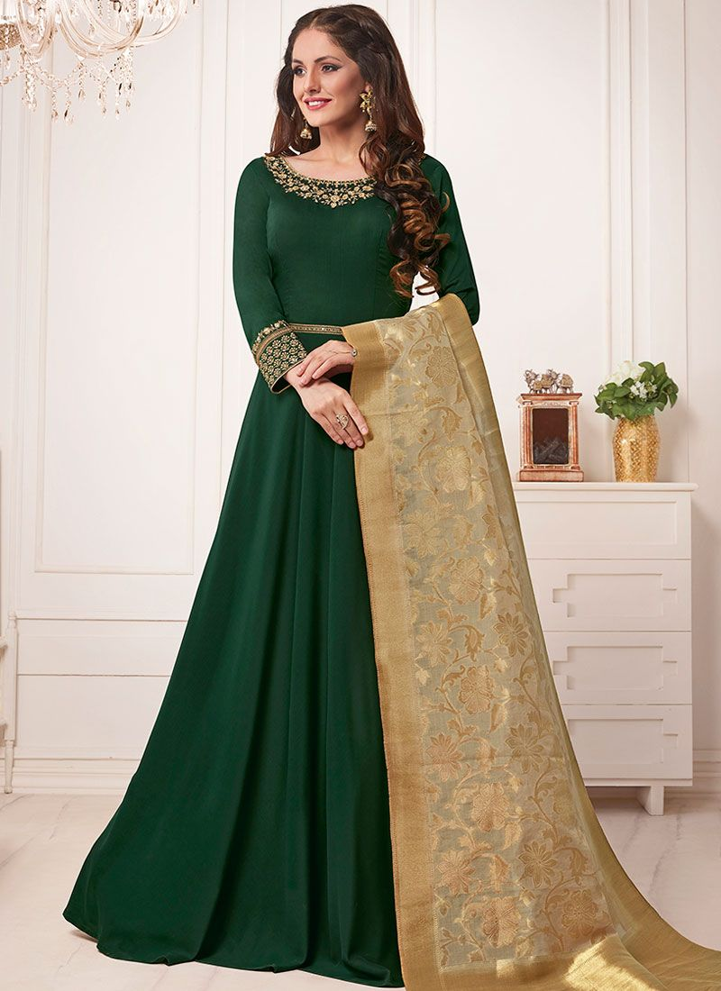 Resham Green Muslin Floor Length Anarkali Suit