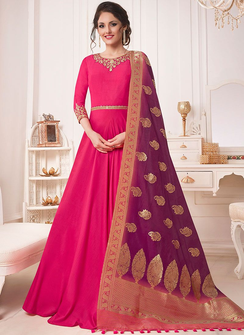 Resham Muslin Hot Pink Floor Length Anarkali Suit