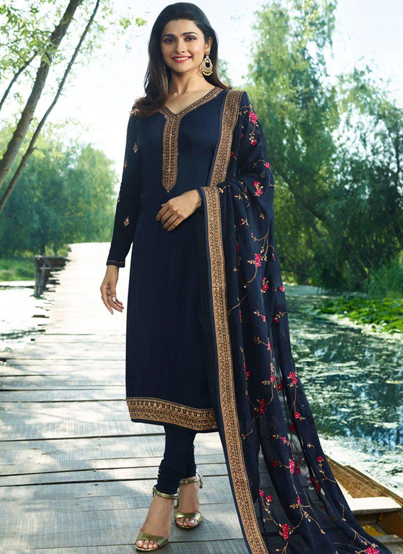 Resham Navy Blue Prachi Desai Churidar Designer Suit
