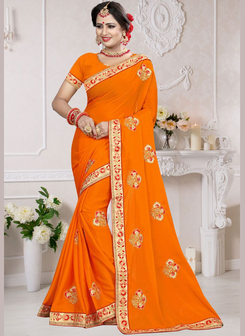 Resham Orange Art Silk Designer Traditional Saree
