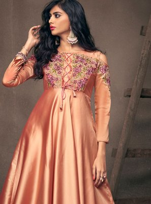 Resham Peach Readymade Gown