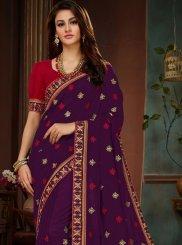 Resham Purple Designer Traditional Saree