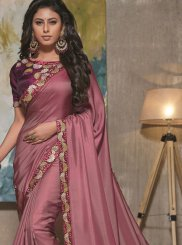 Resham Purple Satin Silk Designer Traditional Saree