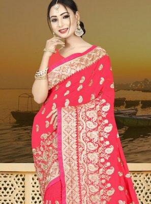 Resham Rose Pink Designer Traditional Saree