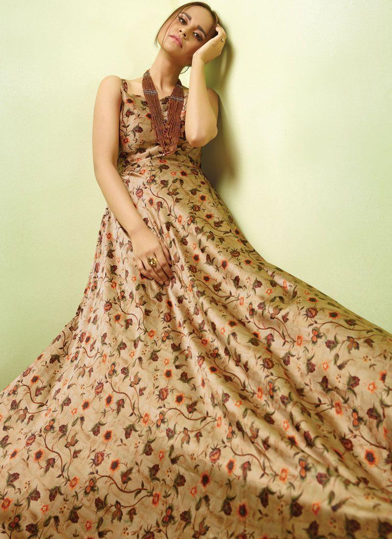 Resham Satin Readymade Gown