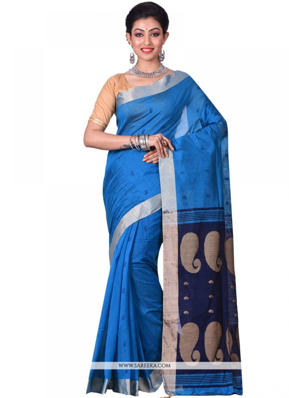 Resham Silk Traditional  Saree in Blue