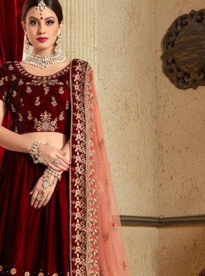 Resham Velvet Lehenga Choli in Maroon