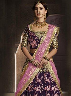 Resham Velvet Lehenga Choli in Pink and Wine