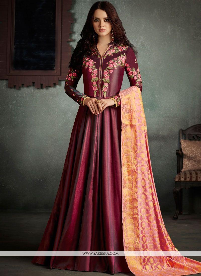 Resham Work Art Silk Floor Length Anarkali Suit