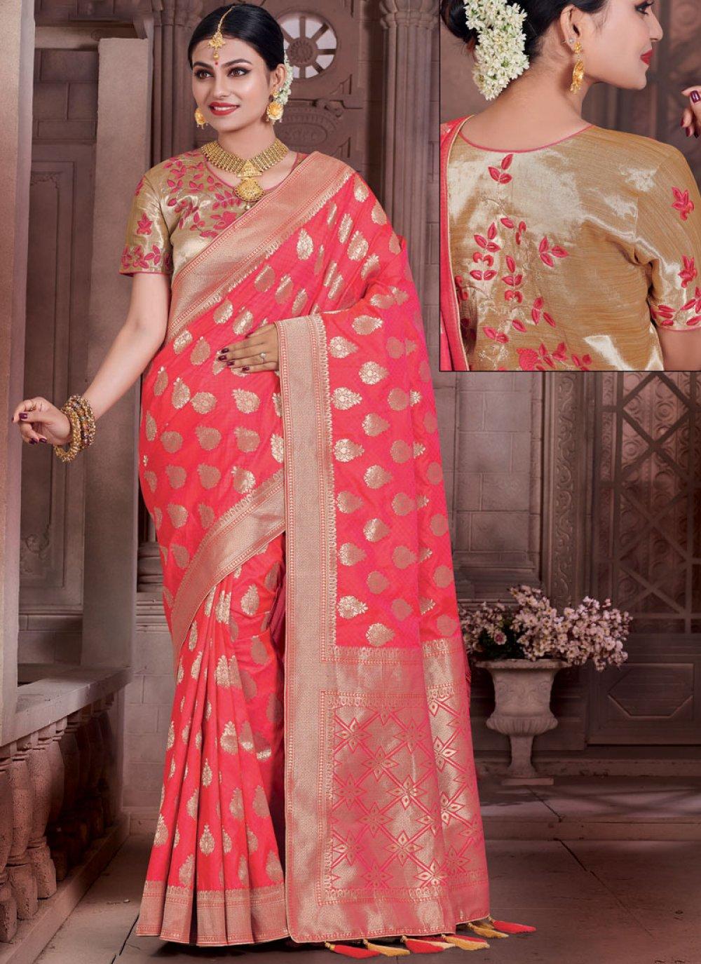 Resham Work Art Silk Traditional  Saree