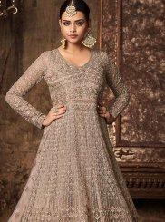 Resham Work Beige Net Floor Length Anarkali Suit