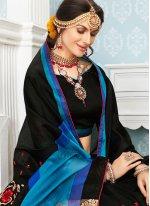 Resham Work Black Art Silk Cotton Traditional  Saree