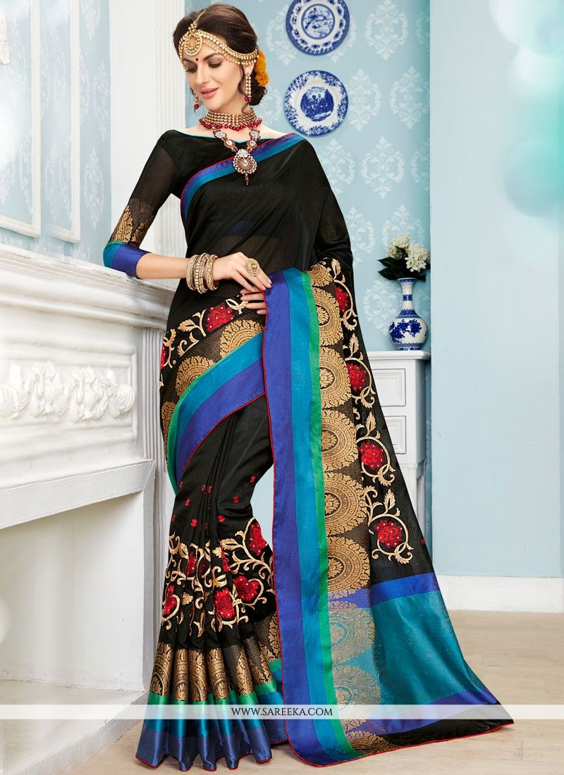 Resham Work Black Art Silk Cotton Traditional  Saree