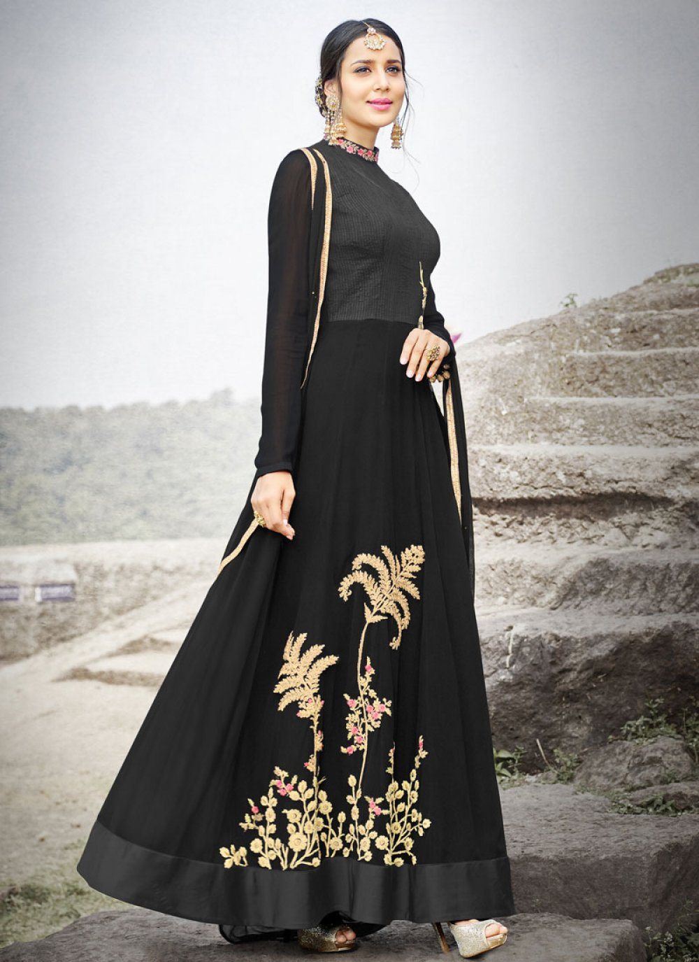 Resham Work Black Faux Chiffon Floor Length Anarkali Suit