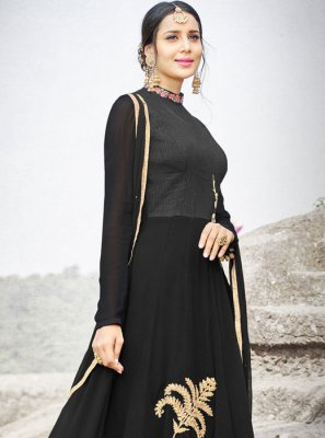 Resham Work Black Faux Chiffon Floor Length Anarkali Suit