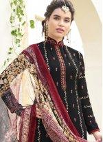 Resham Work Black Faux Georgette Designer Straight Suit