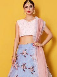 Resham Work Blue Fancy Fabric Lehenga Choli