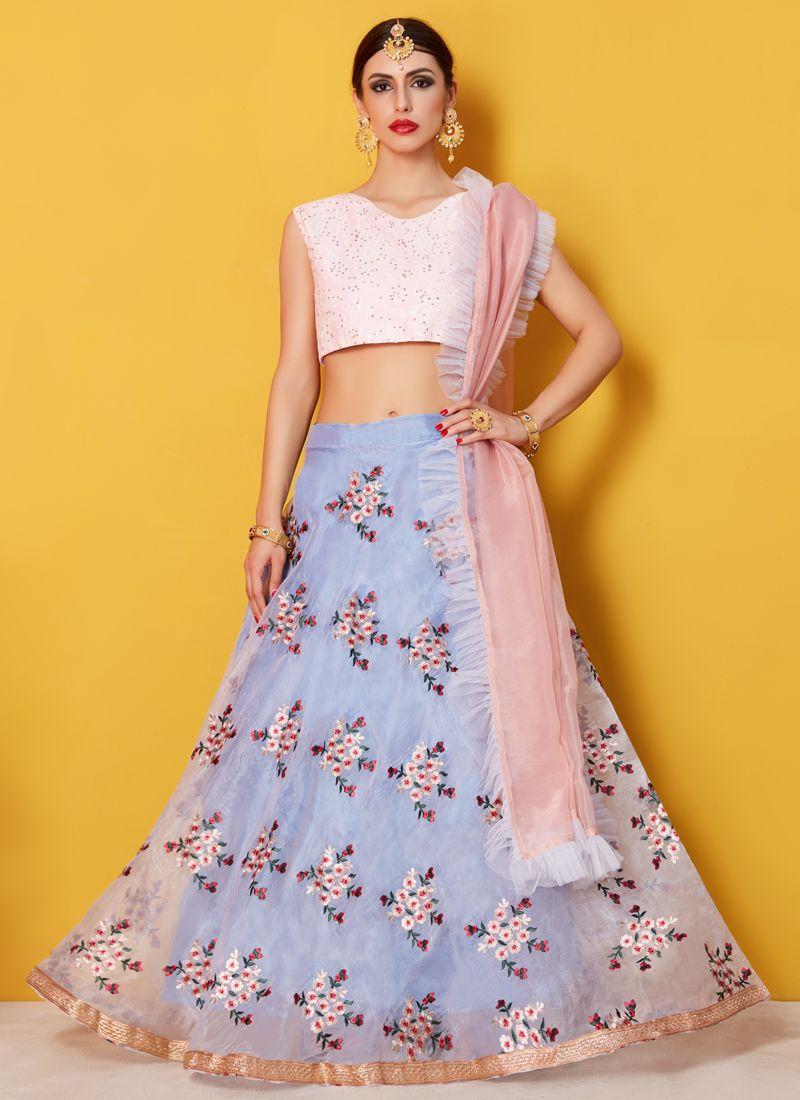 Resham Work Blue Fancy Fabric Lehenga Choli