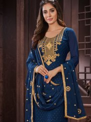 Resham Work Blue Faux Georgette Churidar Designer Suit