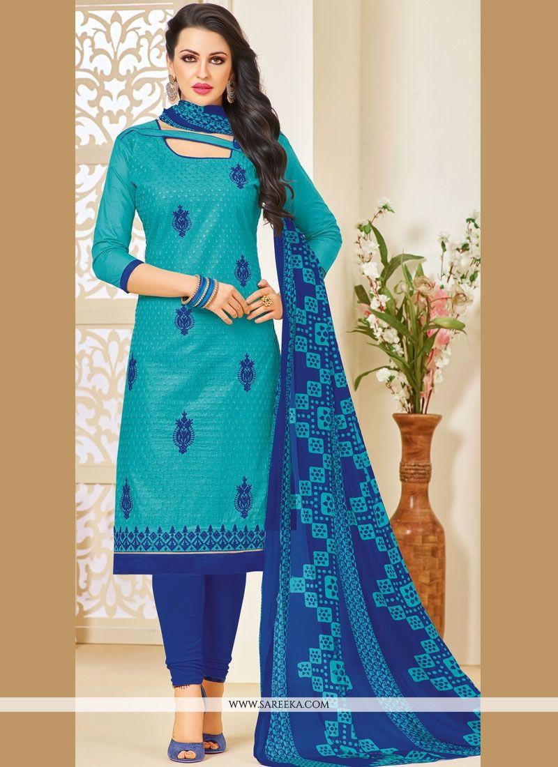 Resham Work Blue Salwar Kameez