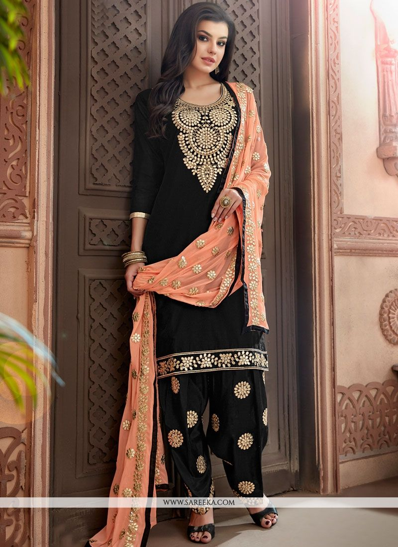 Resham Work Chanderi Punjabi Suit