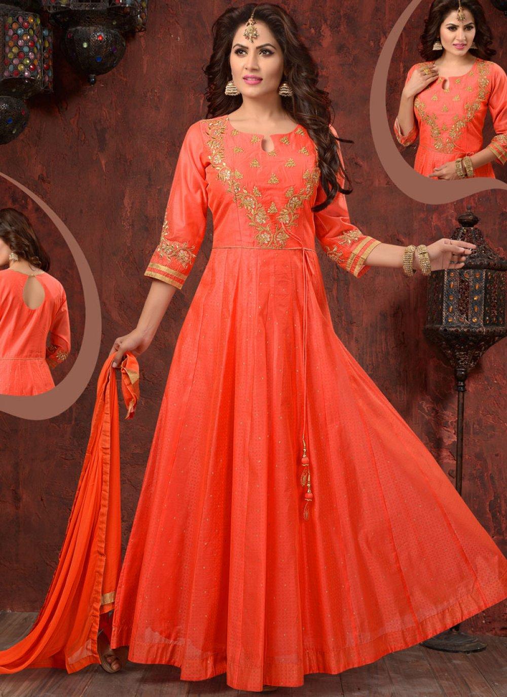Resham Work Chanderi Readymade Anarkali Suit