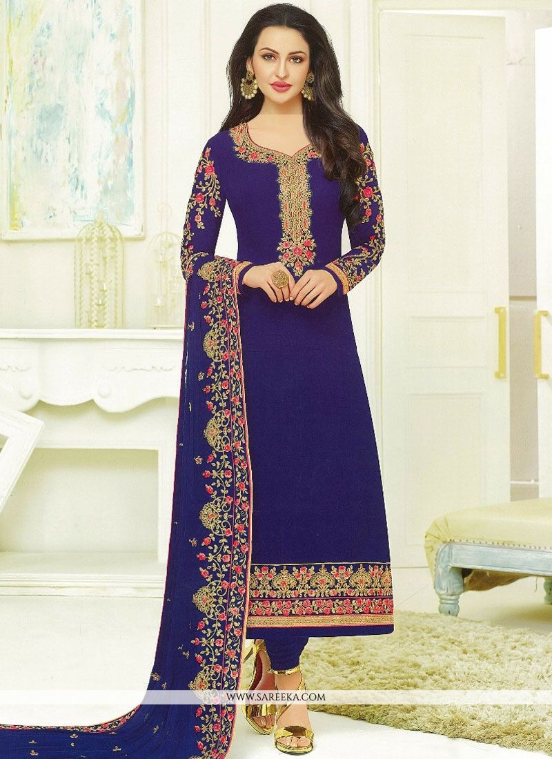 Resham Work Churidar Designer Suit