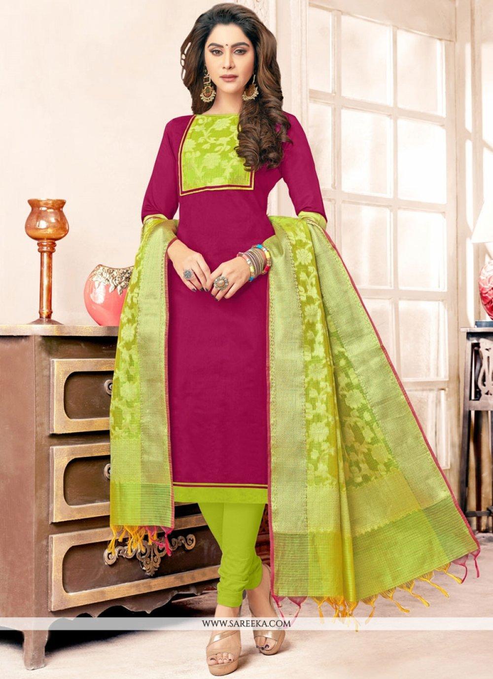 Resham Work Cotton   Green and Hot Pink Salwar Kameez