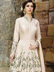 Resham Work Fancy Fabric Floor Length Anarkali Suit
