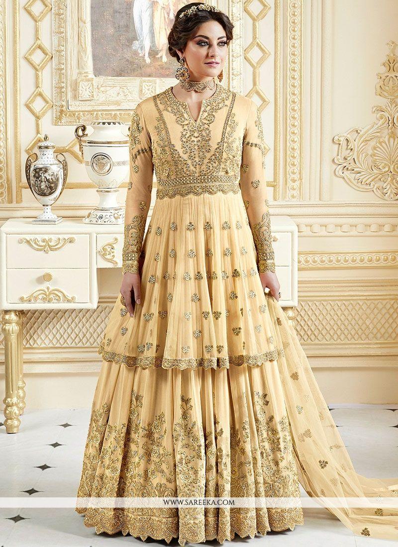 Resham Work Fancy Fabric Floor Length Anarkali Suit