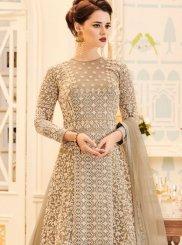 Resham Work Faux Georgette Beige Floor Length Anarkali Suit