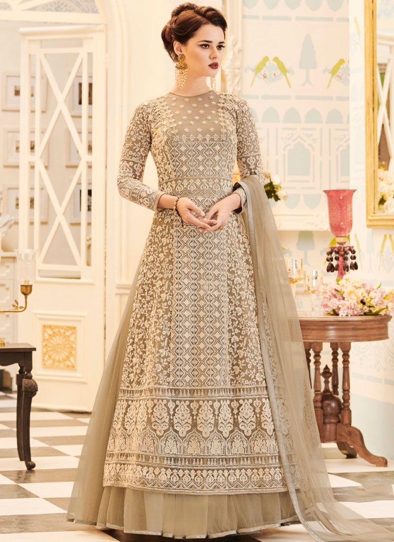 Resham Work Faux Georgette Beige Floor Length Anarkali Suit