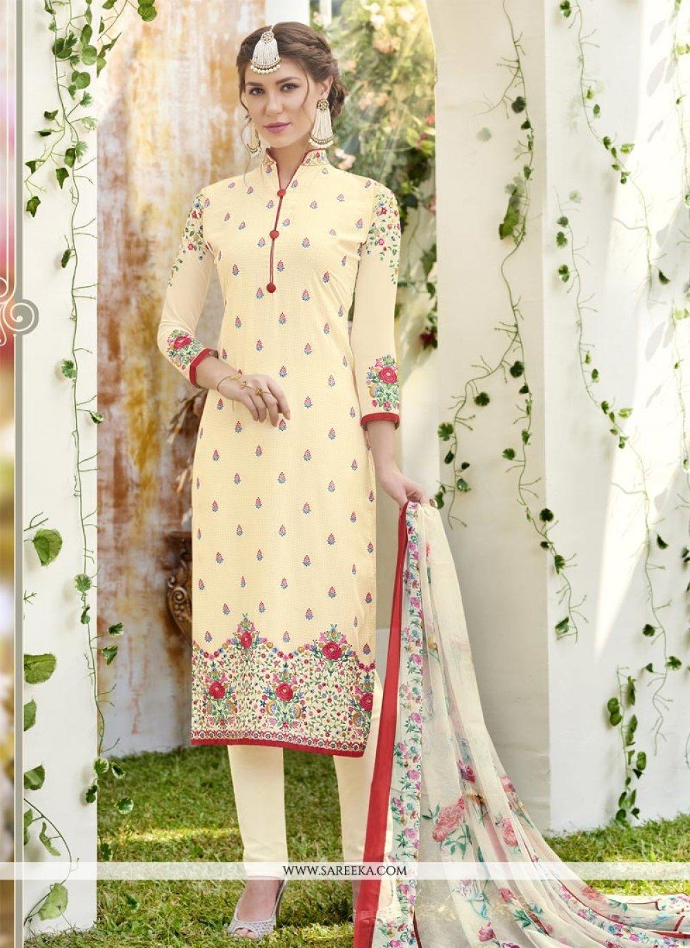Resham Work Faux Georgette Churidar Designer Suit