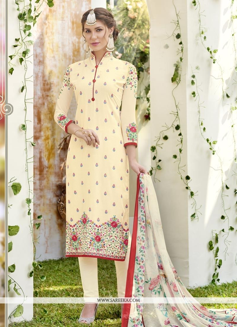 Resham Work Faux Georgette Churidar Designer Suit