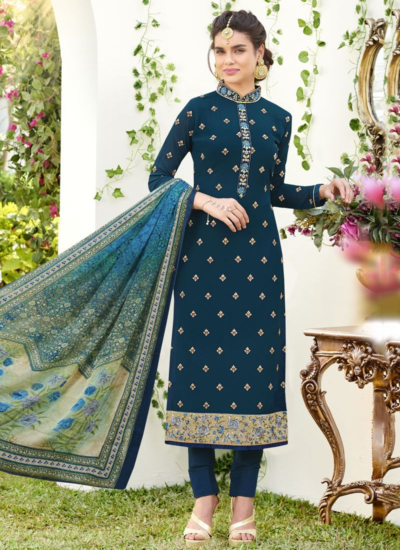 Resham Work Faux Georgette Designer Straight Suit