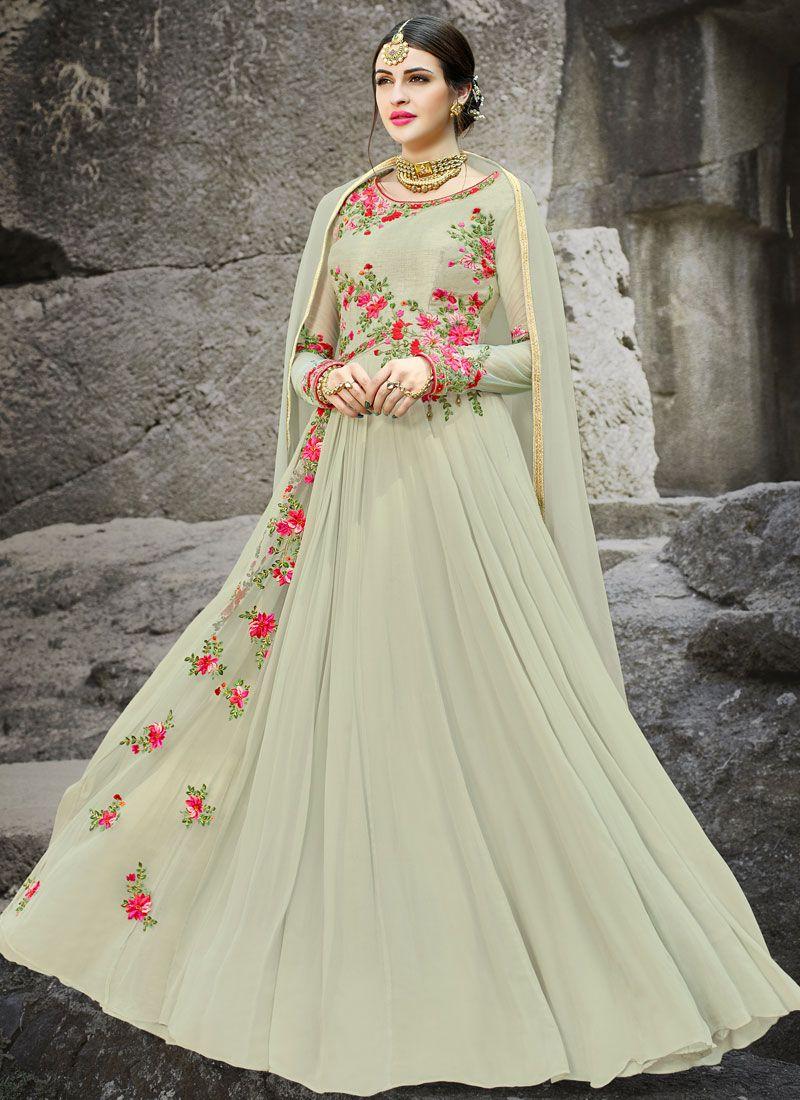 Resham Work Faux Georgette Floor Length Anarkali Suit