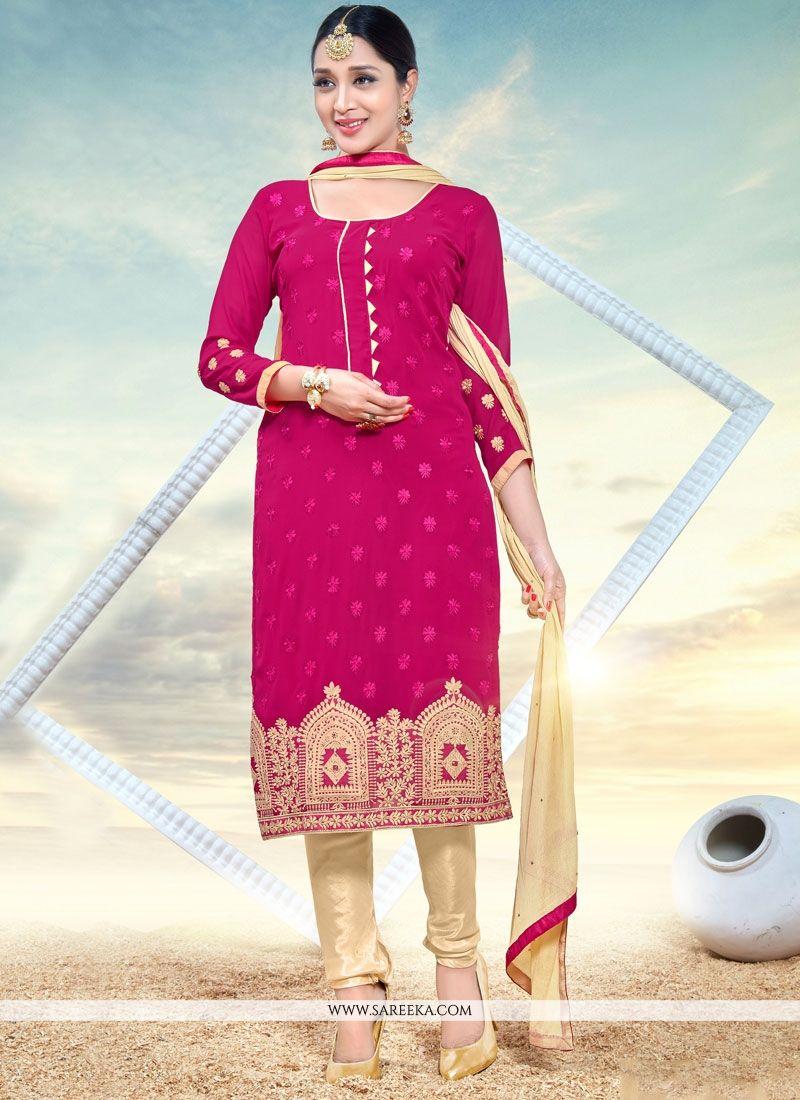 Resham Work Faux Georgette Hot Pink Churidar Designer Suit