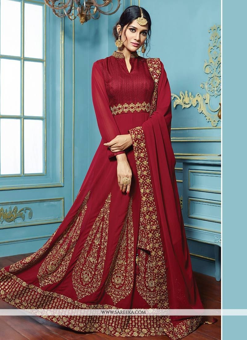 Resham Work Faux Georgette Maroon Floor Length Anarkali Suit