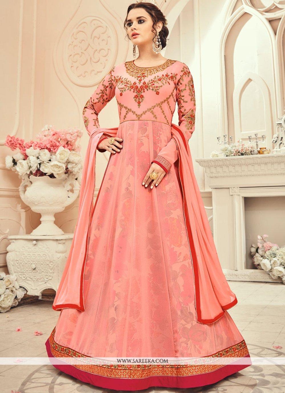 Resham Work Faux Georgette Pink Floor Length Anarkali Suit