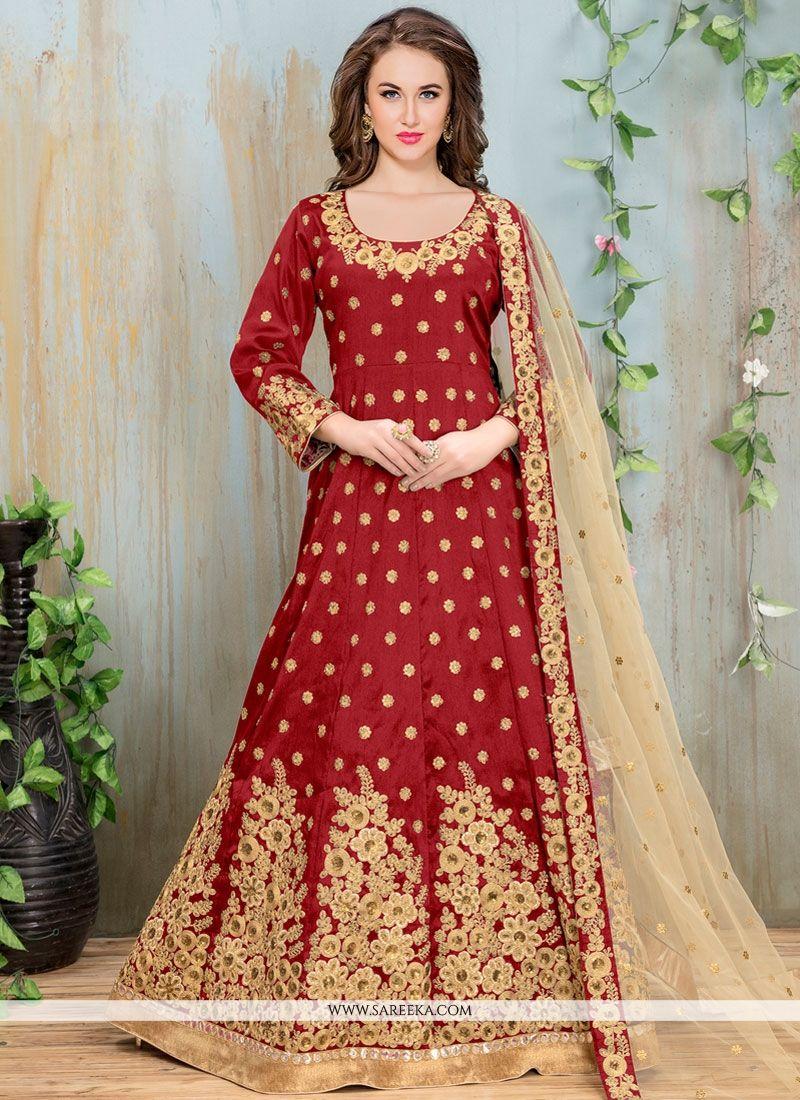 Resham Work Floor Length Anarkali Suit