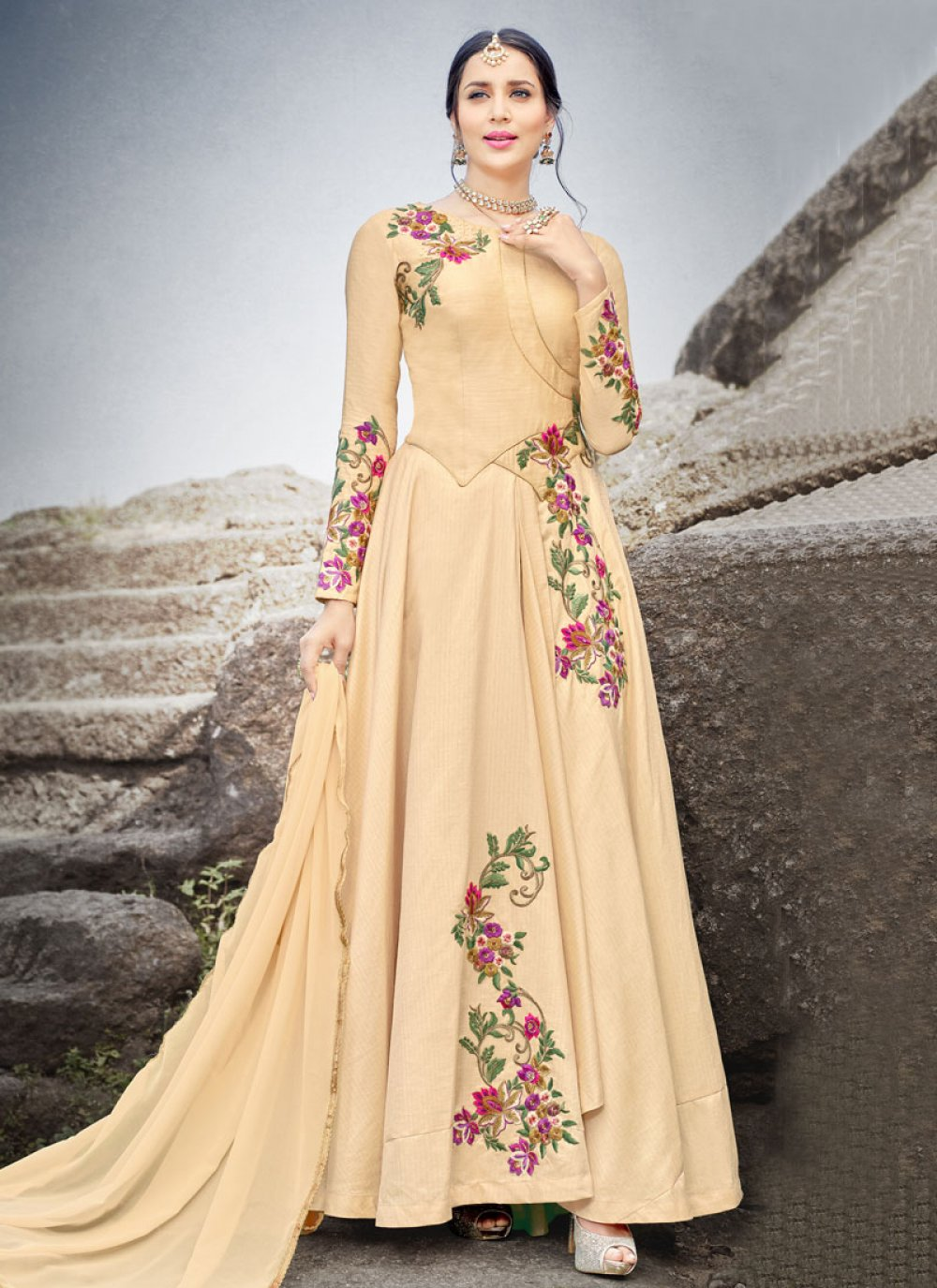 Resham Work Floor Length Anarkali Suit